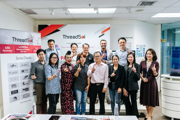 Saurav Ujjain (top row, second from the right), ThreadSol business head for South East Asia region with representatives from the Thai Garment Manufacturers Association (TGMA) and Thailand's leading garment manufacturers after an energetic discussion at ThreadSol's Apparel Tech-Up 2018 seminar. © ThreadSol