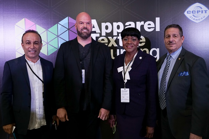 (From left) Moishe Mana, Jason Prescott, Commissioner Audrey Edmonson, Commissioner Jose Diaz. © Apparel Textile Sourcing Miami