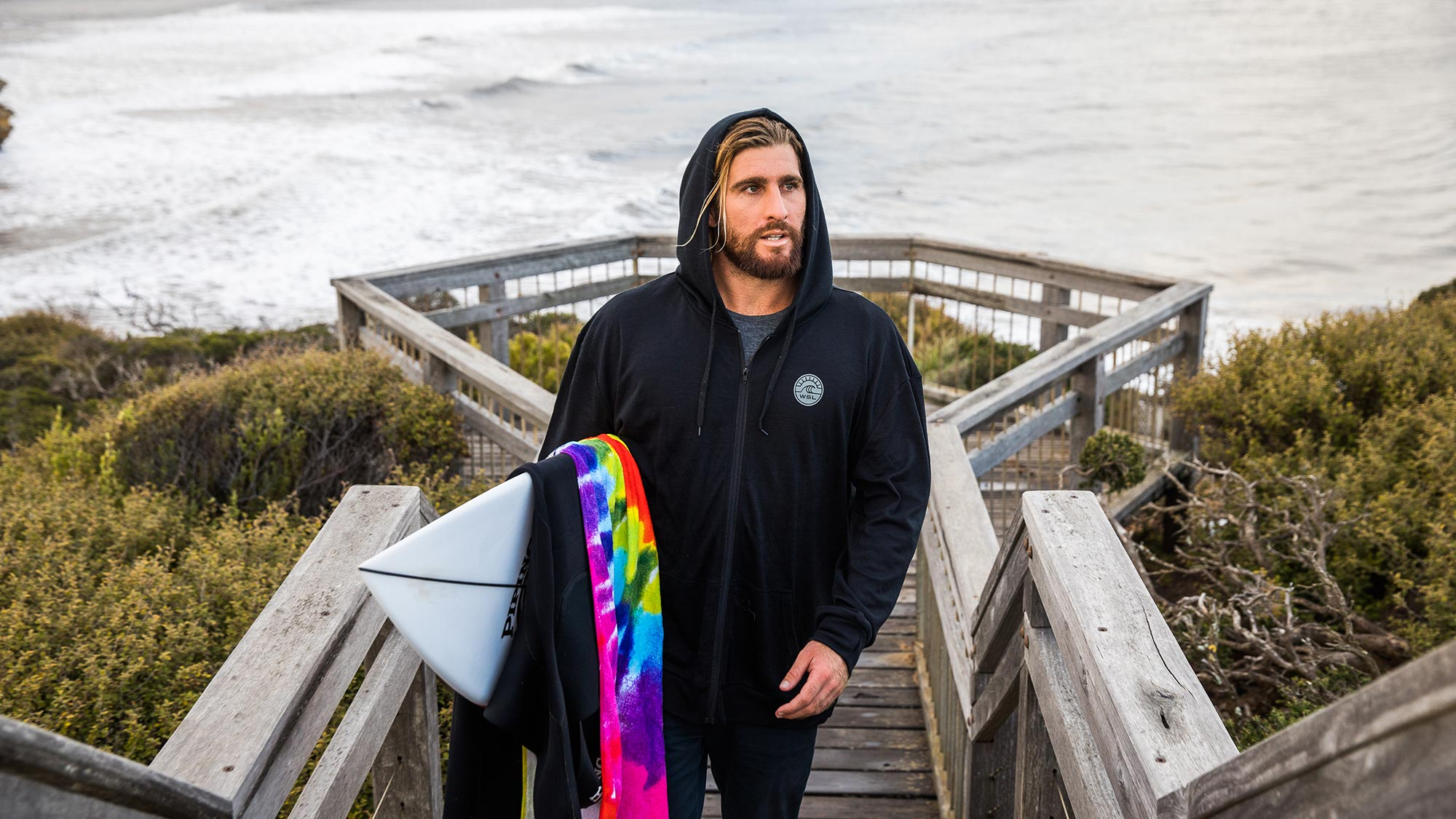 Surfer Wade Carmichael in WSL's new Merino wool apparel. © The Woolmark Company
