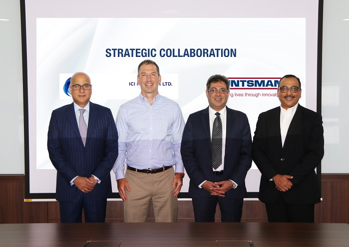 Huntsman Textile Effects and ICI Pakistan entered into a strategic collaboration today. Pictured from left: Asif Jooma, CEO, ICI Pakistan, Chuck Hirsch, Vice President for Commercial and Technical Resources Huntsman Textile Effects, Arshaduddin Ahmed, Vice President Chemicals & Agri Sciences Business, ICI Pakistan Ltd and Rohit Aggarwal, President for Textile Effects. © Huntsman