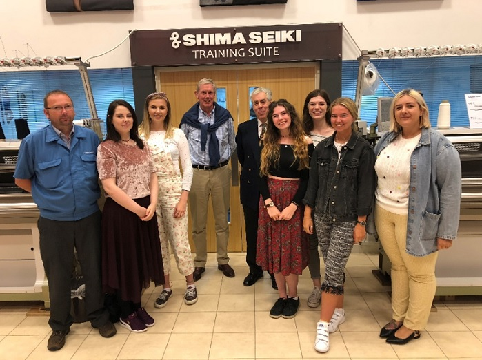 With Jason Whitehouse – Shima Seiki Europe, Hugh Stevenson and George Turner – The Worshipful Company of Framework Knitters are Rebecca Scanlon, Cara Fowles, Hannah Robson, Emily Warburton, Emily Johnson and Chelsea Bodell. © Shima Seiki Europe
