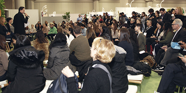 Overflowing into the aisles, the Textile Talks section of the show floor was full with thought-provoking, interactive discussions. © Texworld USA/ Apparel Sourcing USA