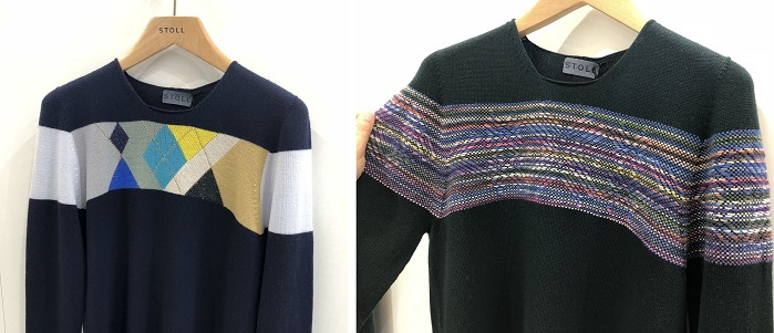 Stoll's knit and wear was knitting a range of men's sweaters at the show. © Knitting industry