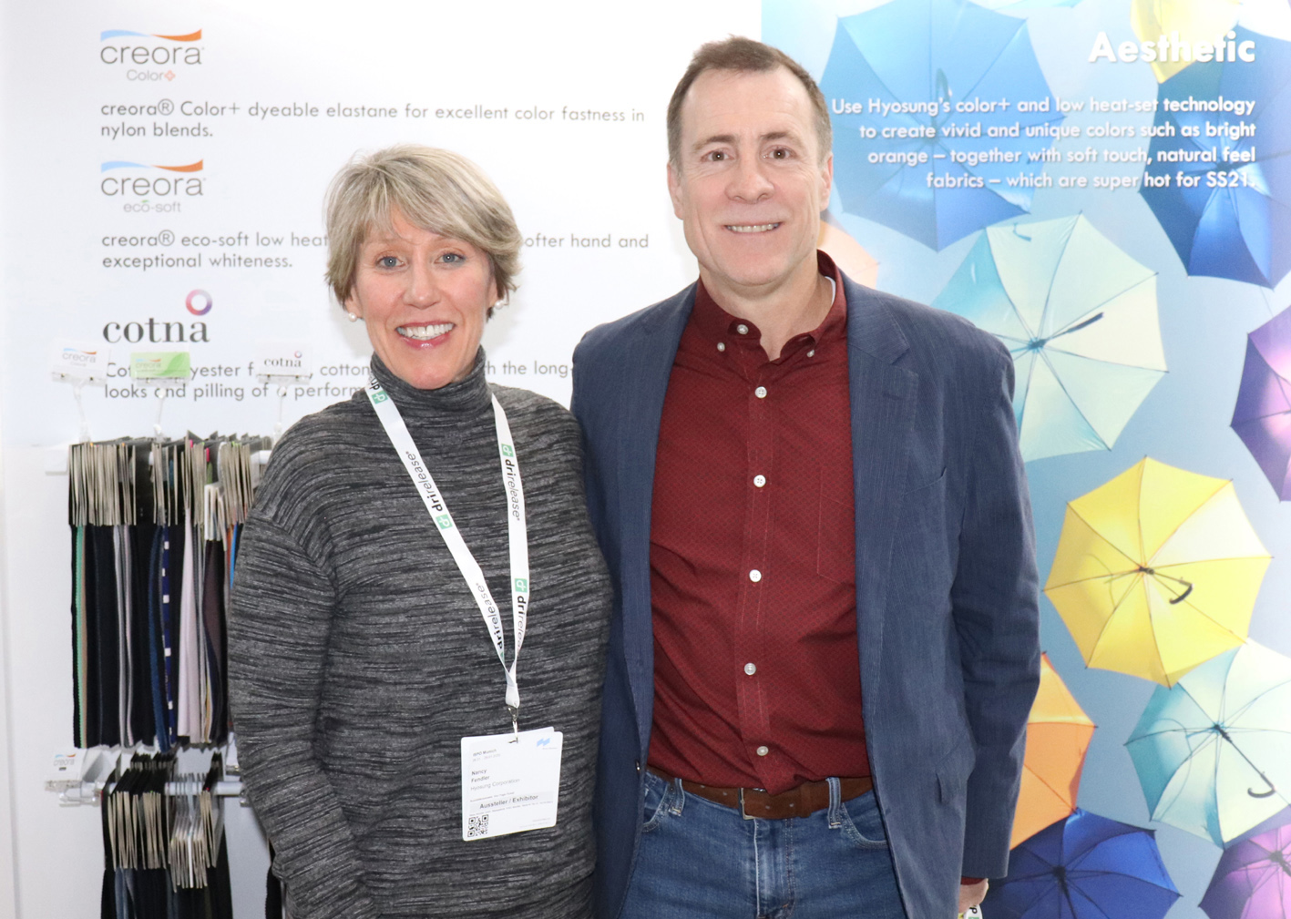 Hyosung's Mike Simko with the company's US and European marketing representative Nancy Fendler at ISPO 2020.
