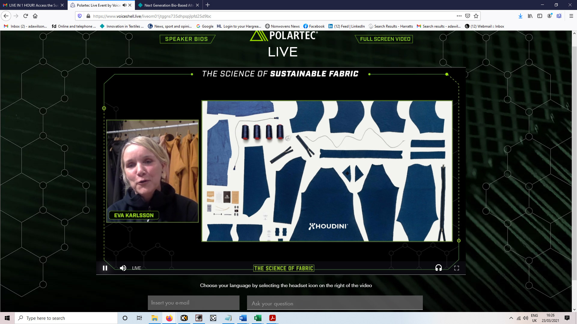 The science of sustainable fabric webinar. © Polartec